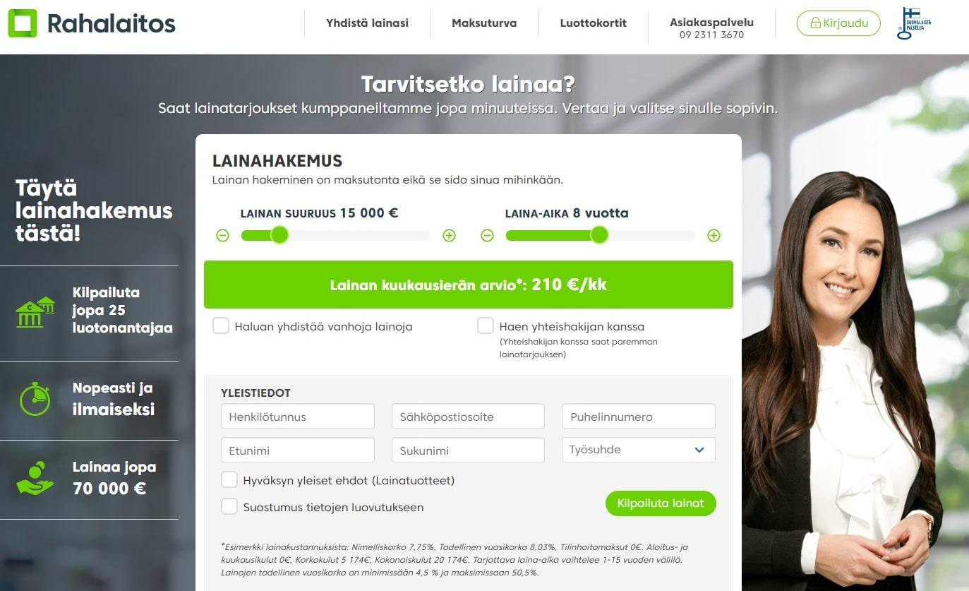 Netistä löytyy tuhansittain kokemuksia Rahalaitos -lainapalvelun kilpailuttamista lainoista.