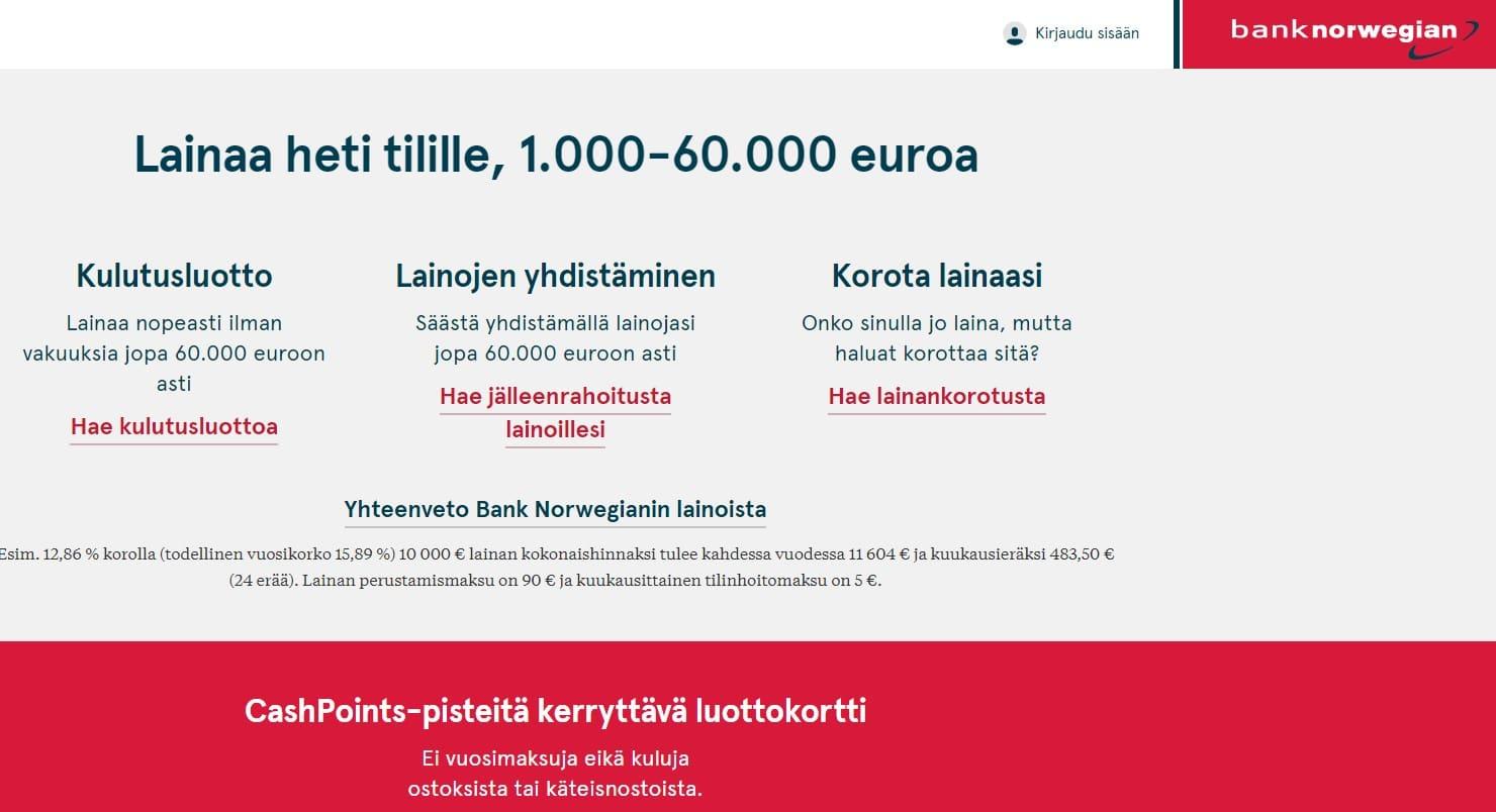 Bank norwegian kulutusluotto lainojen yhdistäminen tai luottokortti