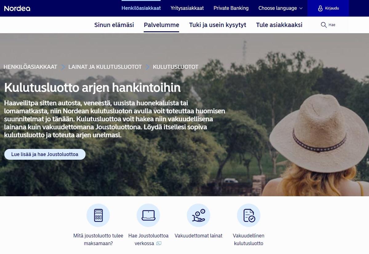 Nordea laina - vakuudettomat lainat